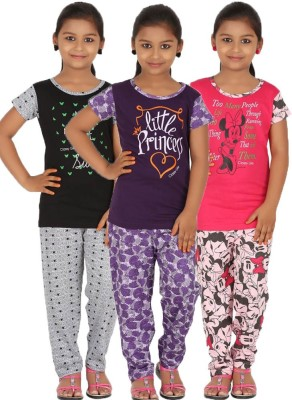 Meril Girls Printed Pink, Purple, Black Top & Pyjama Set