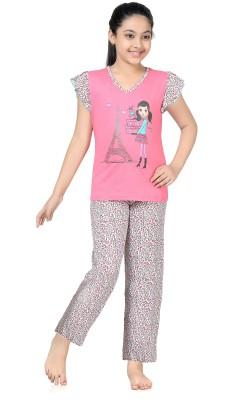 Kombee Girl's Printed Pink, Grey Top & Pyjama Set