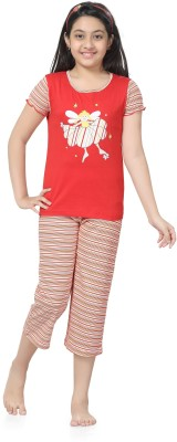 Kombee Girl's Printed Red, Pink Top & Capri Set