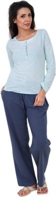 Slumber Jill Women's Striped Green, Blue Top & Pyjama Set