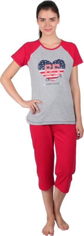 Lazy Dazy Women's Printed Grey, Red Top & Pyjama Set