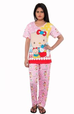 feminine Women's Floral Print Pink Top & Pyjama Set
