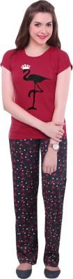 Gallop Women's Graphic Print Red Top & Pyjama Set