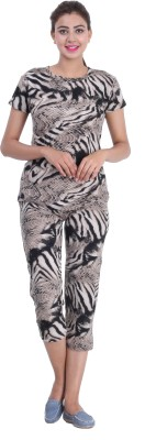 Broche Women's Printed Multicolor Top & Capri Set