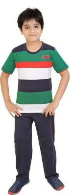 Red Ring Boy's Striped Black, Green, Red, White Top & Pyjama Set