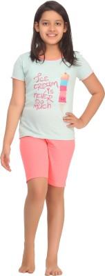 Kanvin Girl's Printed Green Top & Shorts Set