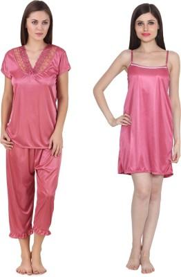 Ansh Fashion Wear Women's Solid Pink Top & Pyjama Set at flipkart