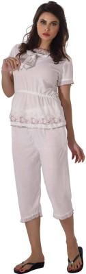 Shyle Women's Embroidered White Top & Capri Set