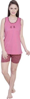 Claura Women's Floral Print Pink Top & Shorts Set