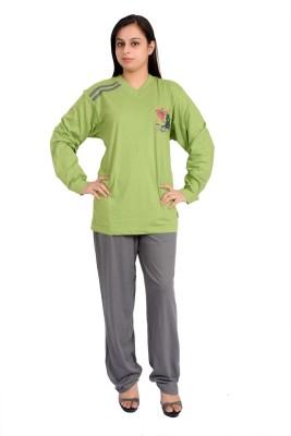 Parv Collections Women's Printed Green Top & Pyjama Set