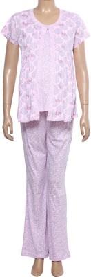 Uzazi Nursing Women's Floral Print Pink, Blue Top & Pyjama Set