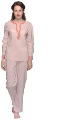 Citypret Women's Embellished Beige Top & Pyjama Set