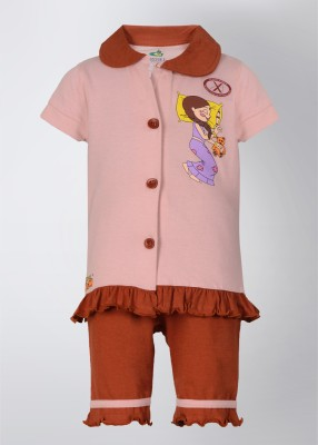 Chhota Bheem Girl's Printed Brown, Pink Top & Pyjama Set