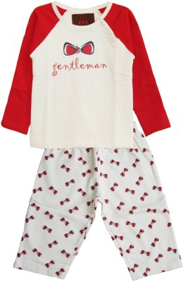 My Little Lambs Baby Boy's Printed Red Top & Pyjama Set