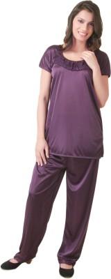 Masha Women's Solid Purple Top & Pyjama Set