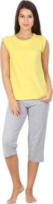 Click Hit Softle Top Payjama set Women's Solid Yellow, Grey T-shirt & Three-forth Set