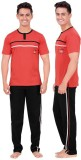 Inter Creation Men's Solid Red Top & Pyj...
