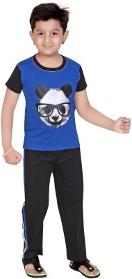 13 in Boy's Printed Blue Top & Pyjama Set