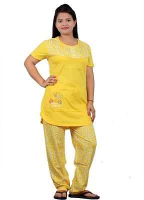 UNO COTTON Men's Printed Yellow Top & Pyjama Set