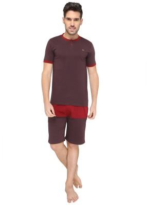 Valentine Men's Solid Brown Top & Shorts Set
