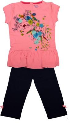 Pepito Girl's Printed Pink Top & Pyjama Set
