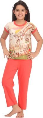 Kanvin Girl's Printed Orange Top & Pyjama Set