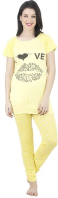 Camey Women's Printed Yellow Top & Pyjama Set
