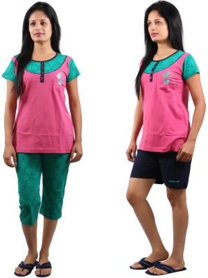 CKL Women's Floral Print, Solid Pink, Green Top & Capri Set, Top & Shorts Set