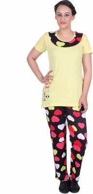Di Tutti Women's Printed Yellow Top & Pyjama Set