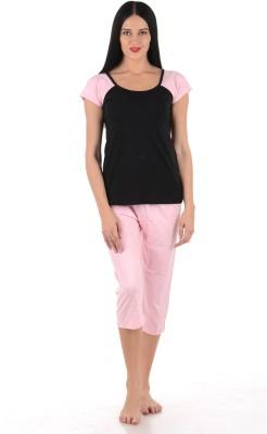 Klamotten Women's Solid Multicolor Top & Capri Set