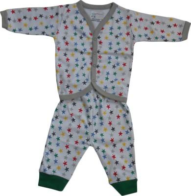 NammaBaby Baby Boy's Printed White Top & Pyjama Set