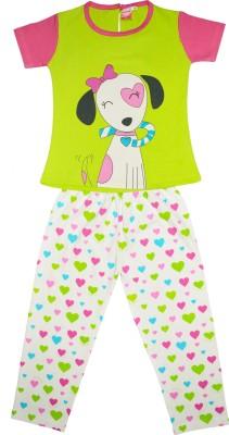 Myfaa Girl's Printed Pink, Grey Top & Pyjama Set