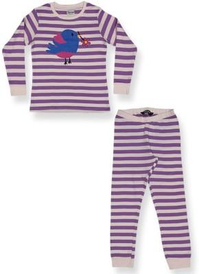 ventra Girl's Striped Multicolor Top & Pyjama Set