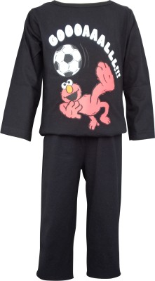 Teddy's Choice Boy's Solid Black Top & Pyjama Set