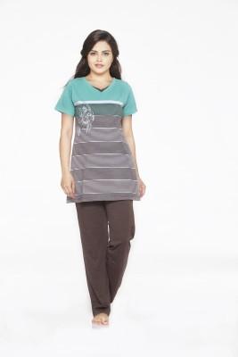 Melodie Women's Printed Green, Brown Top & Pyjama Set