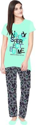 La Dreamz Women's Printed Light Green Top & Pyjama Set
