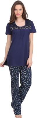 She N She Women's Printed Blue Top & Pyjama Set