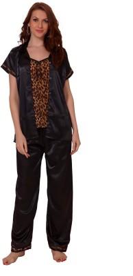 Demoda Women's Printed Black Top & Pyjama Set