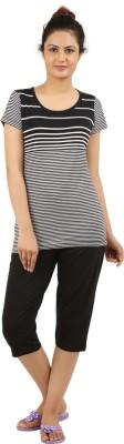 New Darling Women's Striped Multicolor Top & Capri Set
