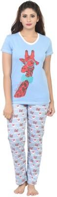 Sunwin Women's Printed Light Blue Top & Pyjama Set