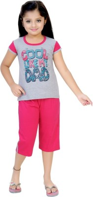 Be 13 Girl's Self Design Grey Top & Capri Set