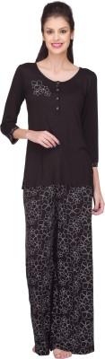 SHENSHE Women's Printed Black Top & Pyjama Set