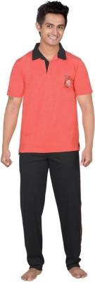 Inter Creation Men's Solid Maroon Top & Pyjama Set