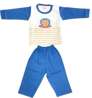 Kandy Floss Baby Boy's Animal Print Dark Blue Top & Pyjama Set