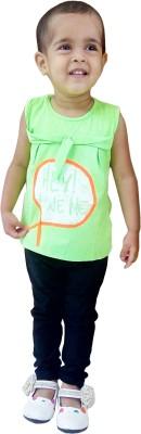 Instyle Girl's Self Design Green, Black Top & Pyjama Set