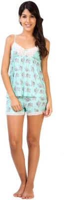 Penny by Zivame Women,s Floral Print Green Top & Shorts Set