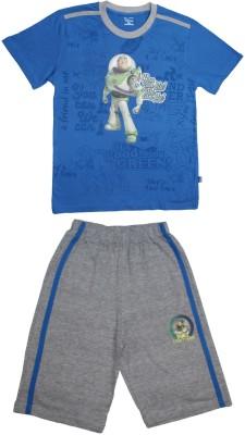 Proteens Boy's Printed Blue, Grey Top & Capri Set