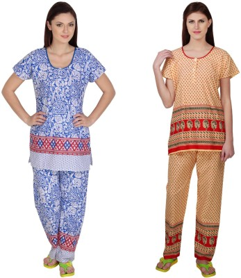 Simrit Women's Printed Blue, Red Top & Pyjama Set