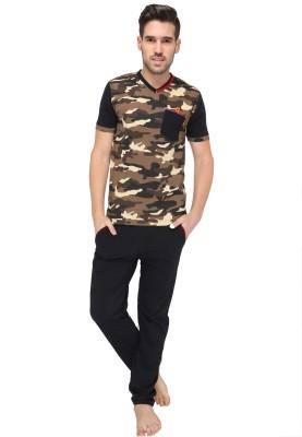 Valentine Men's Self Design Black Top & Pyjama Set