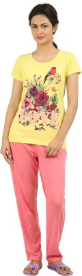 New Darling Women's Printed Yellow, Pink Top & Pyjama Set